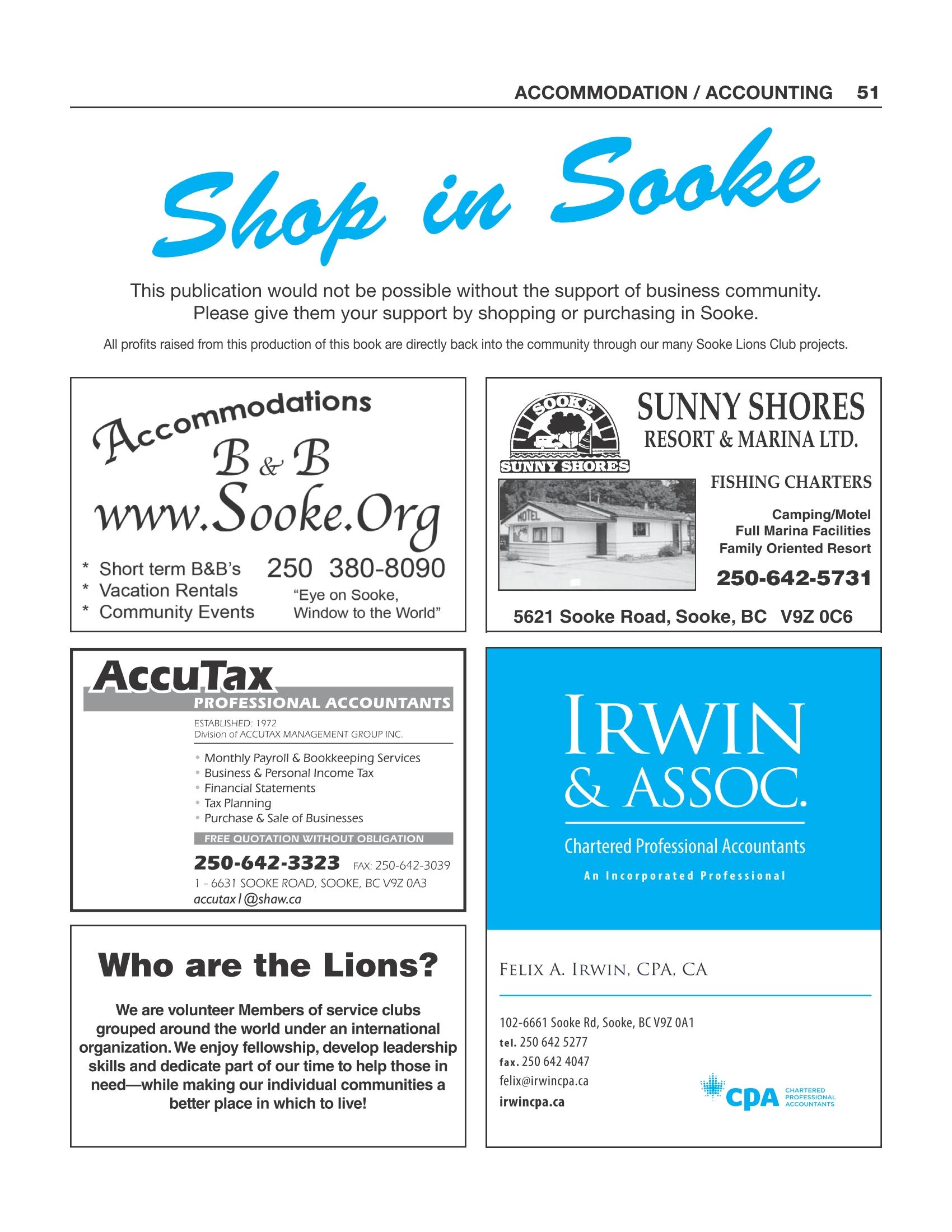 Sooke Accommodation / Accounting